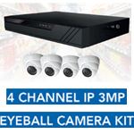 CCTV KIT 4CH POE NVR + 4x3MP EYEBALL CAM + 1TB