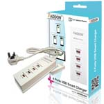 ADDON 4 Ports USB Smart Charger with UK Power Adapter