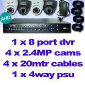 CCTV AHD KIT + 8 PORT DVR + 4 X 2.4MP V/F CAMS